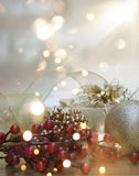 Christmas background with gift and decorations and bokeh lights Royalty Free Stock Images