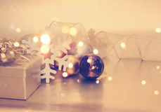 Christmas background with gift and decorations Stock Photo