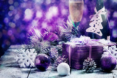 Christmas background with gift stock image