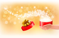 Christmas background with gift magic box Stock Photography