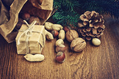 Christmas background with gift, peanuts, hazelnuts, walnuts Stock Images