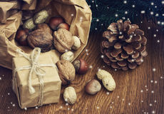 Christmas background with gift, peanuts, hazelnuts, walnuts Stock Photography