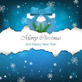 Christmas background with gift, snowflakes and pine needles Royalty Free Stock Image