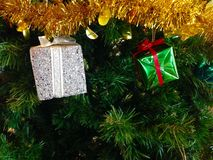 Christmas background. Gift on Christmas tree use for Christmas festival Royalty Free Stock Images