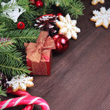 Christmas background with a gift stock photography
