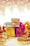 Christmas background with gifts and baubles Royalty Free Stock Photo