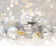 Christmas background with gifts and baubles Stock Photo