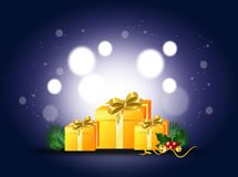 Christmas background with gifts. Blue shining background with christmas gifts decoration Stock Photo
