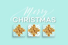 Christmas background with gifts boxes with a gold bow.. Christmas background with gifts boxes with a gold bow. Template for postcard, booklet, leaflet, poster Stock Images