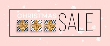 Christmas background with gifts boxes with a gold bow.  Royalty Free Stock Photo