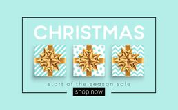 Christmas background with gifts boxes with a gold bow. Template for postcard  Stock Photos