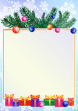 Christmas background with gifts and branch of pine royalty free illustration