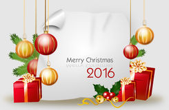 Christmas background with gifts and bulbs with text. Blank christmas background with red golden gifts and christmas bulbs with text Merry Christmas 2016 Stock Image