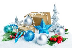 Christmas background with gifts, colored balls and star isolated royalty free stock photos