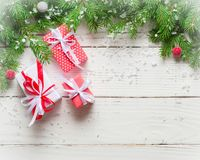 Christmas background. Gifts and congratulations on the New Year. Family meeting. Copy space Stock Photography
