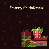Christmas background with gifts. On dark Stock Photos