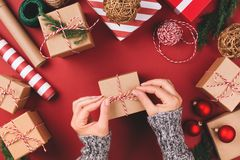 Christmas background with gifts and decorations. royalty free stock photos