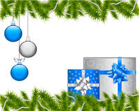 Christmas background. With gifts and decorations and spruce branches Royalty Free Stock Image
