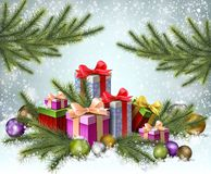 Christmas background with gifts Stock Images