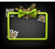 Christmas background with gifts and green bow. Christmas background with fir branches, gifts and green bow. Vector top view illustration Royalty Free Stock Image