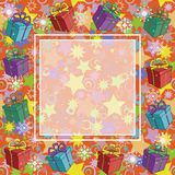 Christmas background with gifts. Christmas holiday background with gift boxes, snowflakes and stars Stock Images