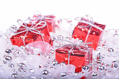 Christmas background with gifts. Christmas background with red gifts Stock Image
