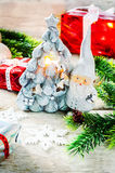 Christmas background with gifts, Santa Claus and balls Royalty Free Stock Image