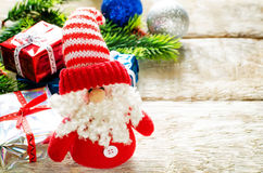 Christmas background with gifts, Santa Claus and balls Royalty Free Stock Photos