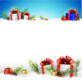 Christmas background with gifts and snow. Illustration of Christmas background with gifts and snow Stock Image