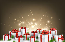 Christmas background with gifts. Stock Photo