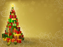 Christmas background with gifts tree Stock Photo