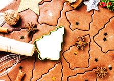 Christmas background with Gingerbread baking dough, cookie cutte Royalty Free Stock Photography