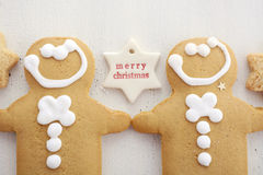 Christmas background with gingerbread borders. Royalty Free Stock Photo