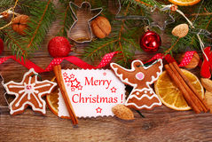 Christmas  background with gingerbread cookies and decoration Royalty Free Stock Photos