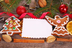 Christmas  background with gingerbread cookies and decoration Royalty Free Stock Photography