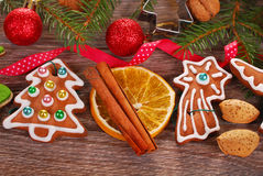 Christmas  background with gingerbread cookies and decoration Stock Image