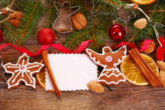 Christmas  background with gingerbread cookies and decoration Stock Photo
