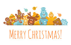 Christmas Background Gingerbread Cookies Horizontal Header Banner Stock Photography