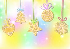 Christmas background with gingerbread cookies. Set of Christmas cookies: heart, tree, ball snowflake star. Gingerbread set vector illustration
