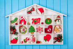 Christmas background with gingerbread, decorations and gift boxe Stock Photo