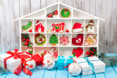 Christmas background with gingerbread, decorations and gift boxe Royalty Free Stock Image
