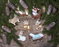 Christmas background with gingerbread in the form of animal figu Stock Image