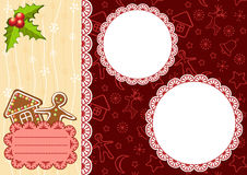 Christmas background with gingerbread and frames. Stock Photography