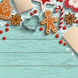 Christmas background with gingerbread, spices and ornaments stock illustration