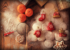 Christmas background with gingerbread tree Royalty Free Stock Images