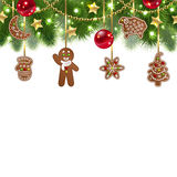 Christmas background with gingerbreads Royalty Free Stock Photography