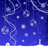 Christmas background with girl. Christmas background with christmas tree decoration, snowflakes and girl Royalty Free Stock Image