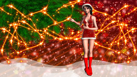 Christmas background with girl in santa hat Royalty Free Stock Photo