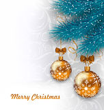 Christmas Background with Glass Balls and Fir Royalty Free Stock Image