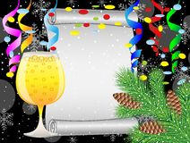 Christmas background with glass of champagne and festive decorat Stock Photo